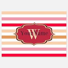 Monogram Multicolored Stripes 5x7 Flat Cards