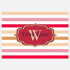 Monogram Multicolored Stripes Invitations
