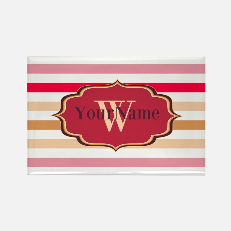 Monogram Multicolored Stripes Rectangle Magnet