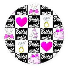 STYLISH BRIDESMAID Round Car Magnet