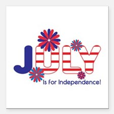 "July Independence Square Car Magnet 3"" x 3"""