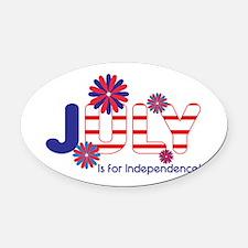 July Independence Oval Car Magnet
