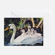 Mother And Baby Swans Greeting Cards