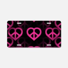 Pink PeaceHeart Aluminum License Plate