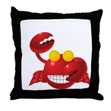 Smiling Crab Humorous Throw Pillow