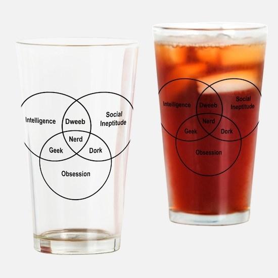 Nerd venn diagram Drinking Glass