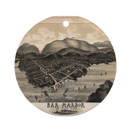 Antique map of Bar Harbor, Ma Ornament (Round)