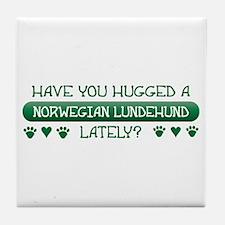 Hugged Lundehund Tile Coaster