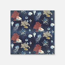 """Indigo Ocean Coral Octopus  Square Sticker 3"""" x 3"""""""