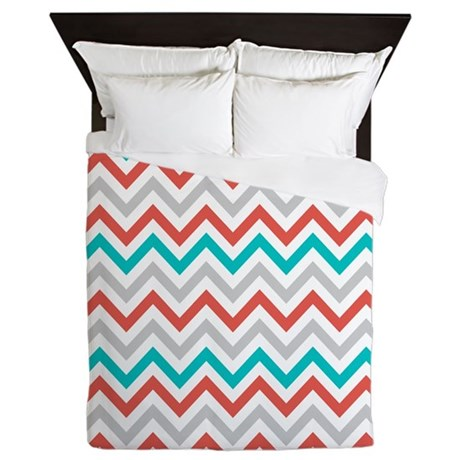 Gray Coral Teal Chevron Queen Duvet By