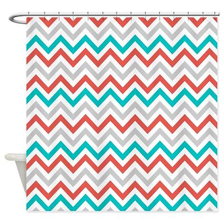 Curtains Ideas coral chevron shower curtain : Gray Coral Teal Chevron Shower Curtain by ...
