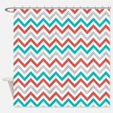 Gray Coral Teal Chevron Shower Curtain