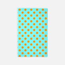 Aqua And Orange Polka Dots 3'x5' Area Rug