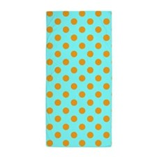 Aqua And Orange Polka Dots Beach Towel