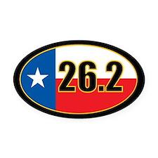 Texas Full Marathon Oval Car Magnet 26.2