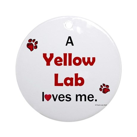 Yellow Lab Loves Me Ornament (Round)