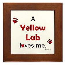 Yellow Lab Loves Me Framed Tile