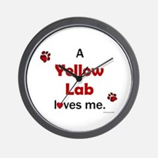 Yellow Lab Loves Me Wall Clock