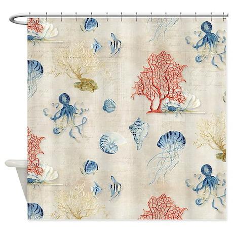 Indigo Ocean Coral Octopus Shells J Shower Curtain