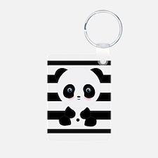 Panda on Black and White Keychains