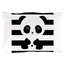 Panda on Black and White Pillow Case