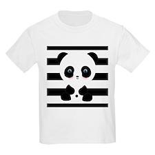 Panda on Black and White T-Shirt