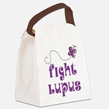 Lupus Purple Butterfly Canvas Lunch Bag