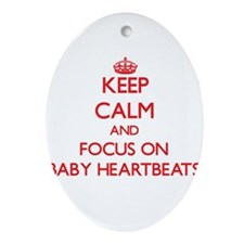 Unique Keep calm heartbeat Ornament (Oval)