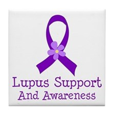 Lupus Purple Ribbon Tile Coaster