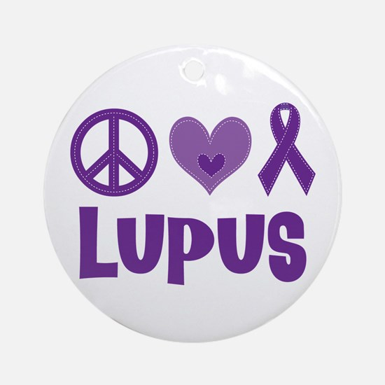 Lupus Peace Love Cure Ornament (Round)