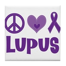 Lupus Peace Love Cure Tile Coaster