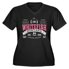 Whitefish Vi Women's Plus Size V-Neck Dark T-Shirt