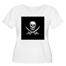 Glassy Skull and Cross Swords Plus Size T-Shirt