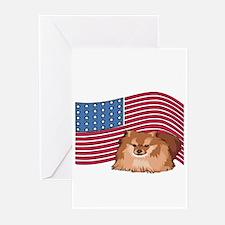 Patriotic Pomeranian Greeting Cards (Pk of 10)