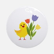 Chick with Tulips Ornament (Round)