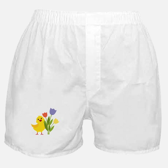 Chick with Tulips Boxer Shorts