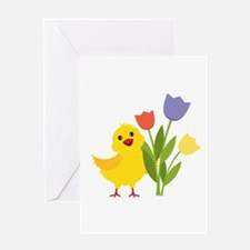 Chick with Tulips Greeting Cards