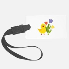 Chick with Tulips Luggage Tag