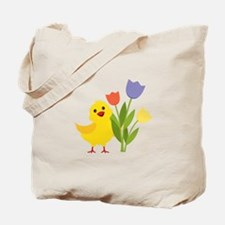 Chick with Tulips Tote Bag