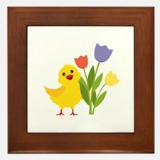 Chick with Tulips Framed Tile