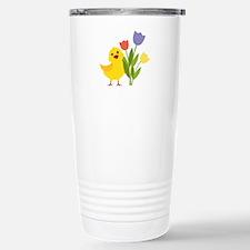 Chick with Tulips Travel Mug