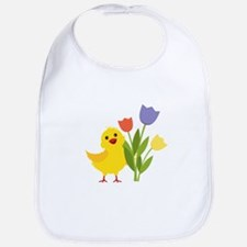 Chick with Tulips Bib