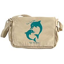 CUSTOM TEXT Cute Dolphins Messenger Bag