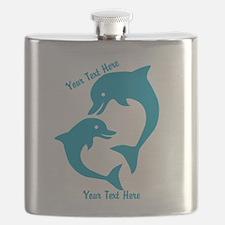 CUSTOM TEXT Cute Dolphins Flask