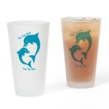 CUSTOM TEXT Cute Dolphins Drinking Glass