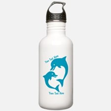 CUSTOM TEXT Cute Dolphins Water Bottle