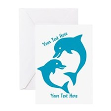CUSTOM TEXT Cute Dolphins Greeting Cards