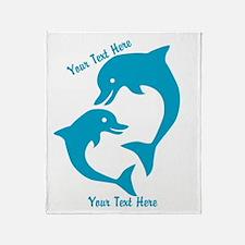 CUSTOM TEXT Cute Dolphins Throw Blanket