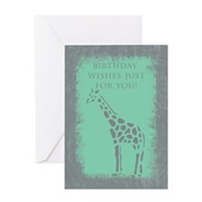 Giraffe Grunge Birthday Card Greeting Cards