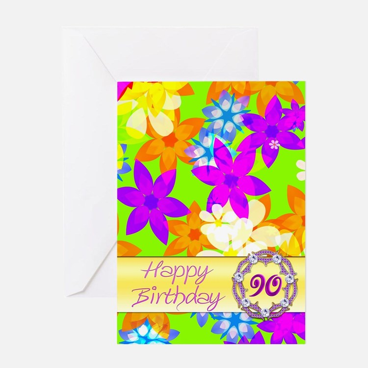 90th birthday, with fabulous flowers Greeting Card